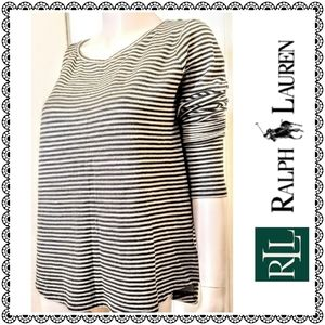 {LRL Ralph Lauren} tan stripe sweater knit top, L